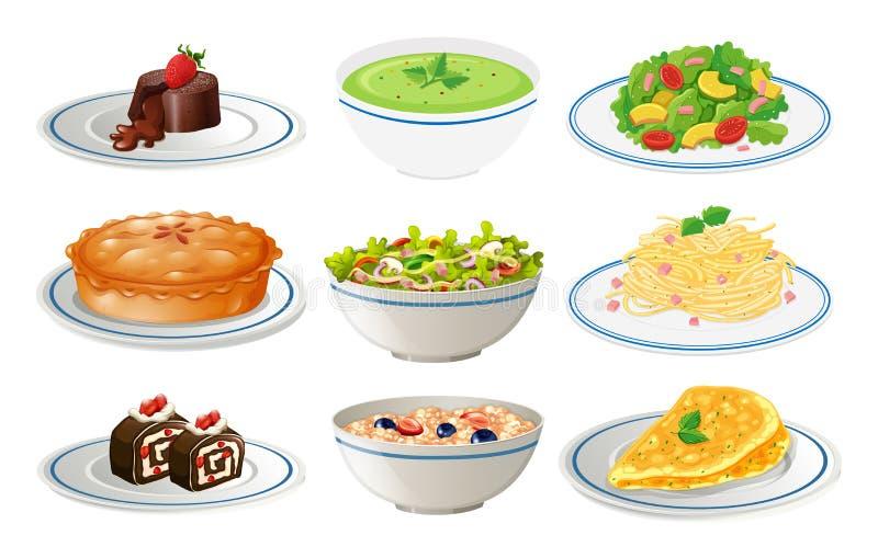 Diferentes tipos de comida en las placas blancas ilustración del vector