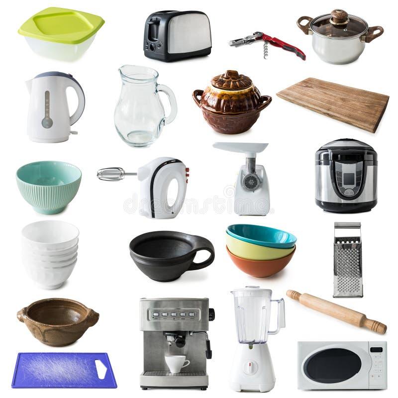 Diferentes tipos de dispositivos y de mercancías de cocina imagen de archivo libre de regalías