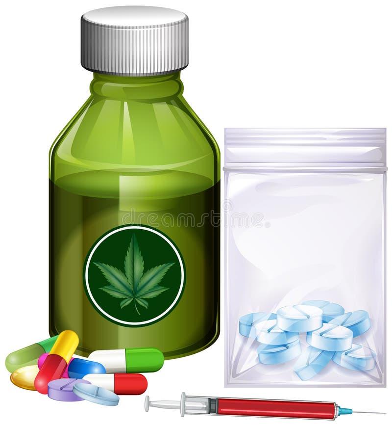 Diferentes tipos de drogas ilustración del vector
