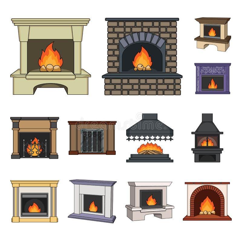Diferentes tipos de iconos de la historieta de las chimeneas en la colección del sistema para el diseño Web de la acción del símb stock de ilustración