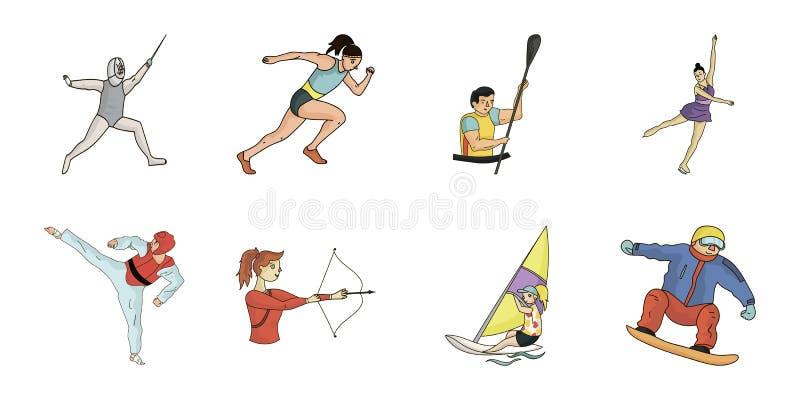 Diferentes tipos de iconos de los deportes en la colección del sistema para el diseño El atleta, competencias vector el ejemplo c stock de ilustración