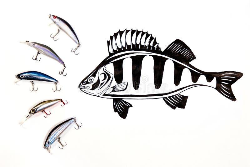 Diferentes tipos de los cebos plásticos de la pesca con la tinta que dibuja el fi foto de archivo libre de regalías