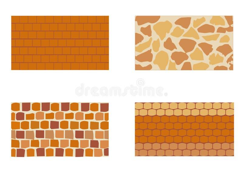 Diferentes tipos de pared de ladrillo de piedra stock de ilustración