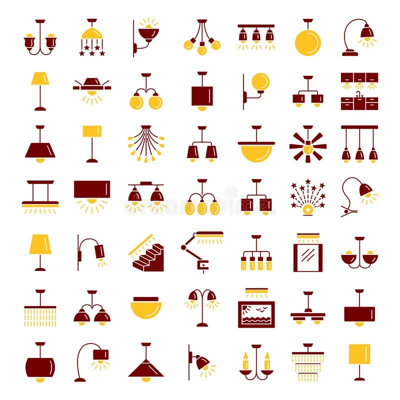 Diferentes tipos de pared, de techo, de tabla y de lámparas de pie moderno ilustración del vector