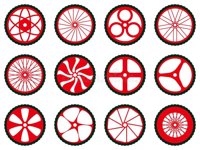 Diferentes tipos de ruedas de la bici Ruedas de la bici con los neumáticos y los rayos ilustración del vector