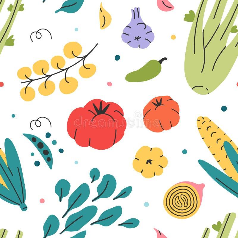 Diferentes verduras sin fisuras vectorial a mano alimento crudo fresco y sabroso vegetariano. Papel de pared repetido y sabroso fr ilustración del vector
