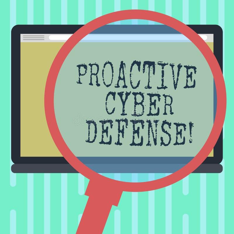 Difesa cyber dinamica del testo di scrittura di parola Concetto di affari affinchè anticipazione si oppongano ad un attacco che c royalty illustrazione gratis