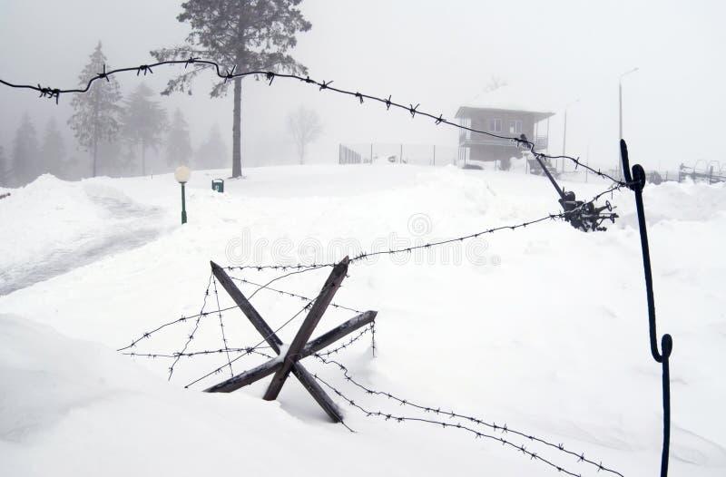 Difese del barbwire di WWII immagini stock libere da diritti