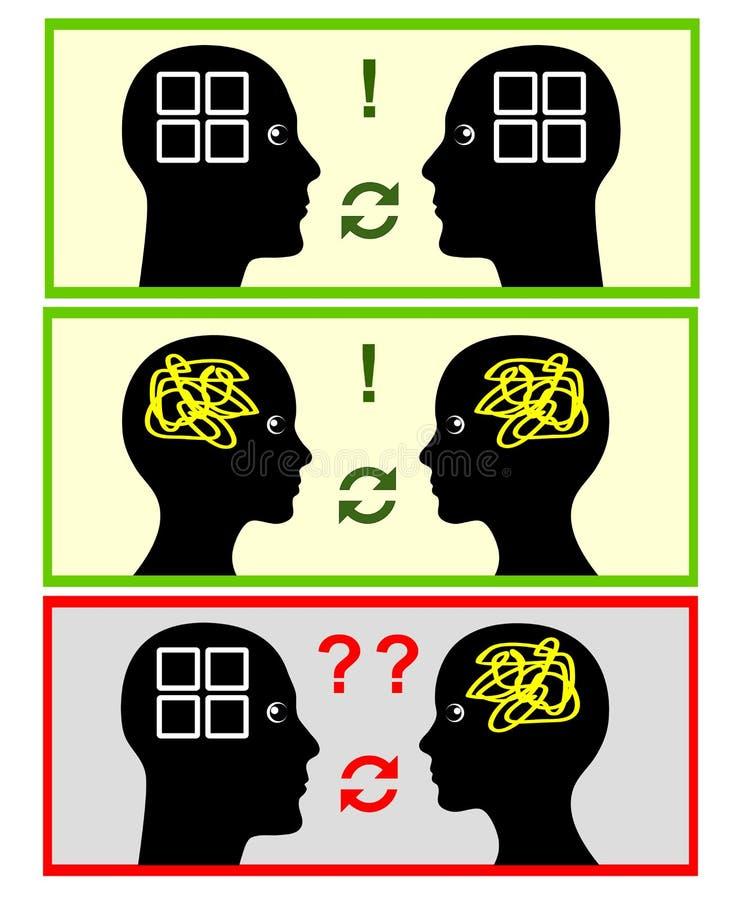 Différence dans des modèles de communication illustration de vecteur