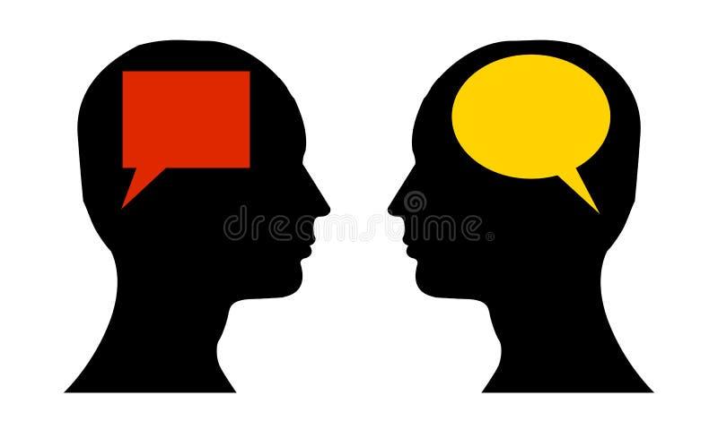Différence de la parole et penser opposé illustration stock