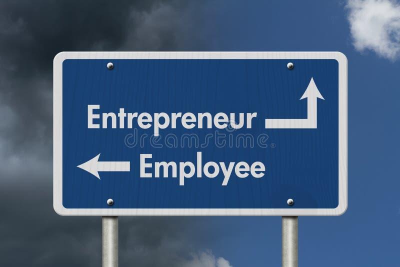 Différence entre être un entrepreneur ou un employé illustration de vecteur
