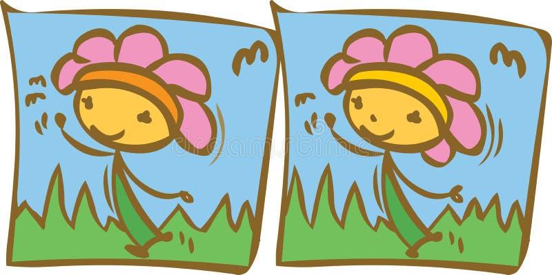 Différence heureuse de fleur illustration stock