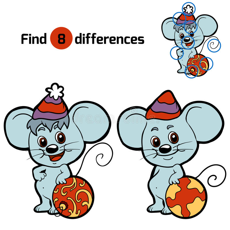 Différences de découverte pour des enfants : Animaux de Noël (souris) illustration de vecteur