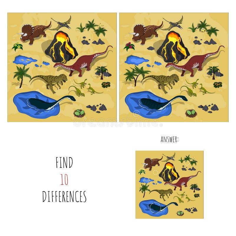 Différences de la trouvaille 10 Taches de recherche en parc du ` s de dinosaure Jeu éducatif pour des enfants Illustration de vec illustration libre de droits