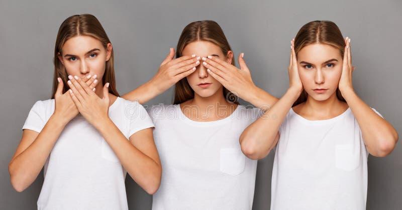 Différentes émotions de femelle réglées image libre de droits