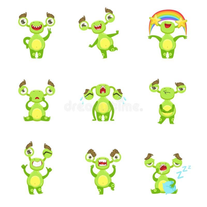 Différentes émotions et situations de caractère vert de monstre réglées illustration stock