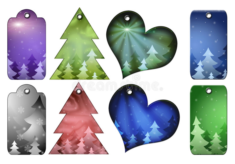 différentes étiquettes de cadeau de formes de Noël illustration libre de droits