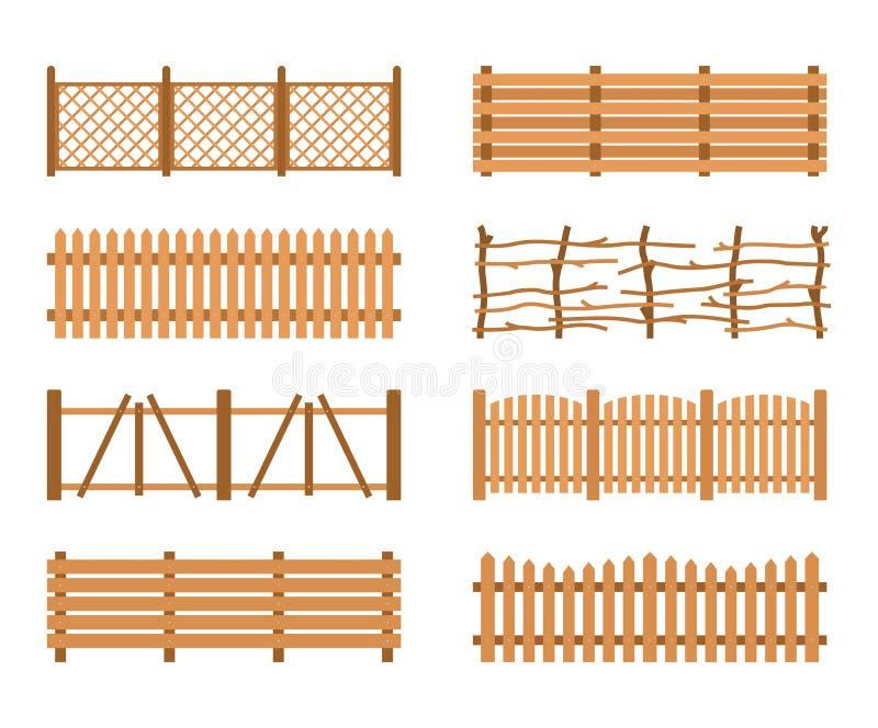 Différentes barrières en bois réglées de jardin Le bois de clôture rural embarque la construction illustration libre de droits