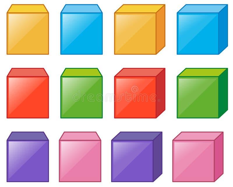 Différentes boîtes de cube dans beaucoup de couleurs illustration libre de droits