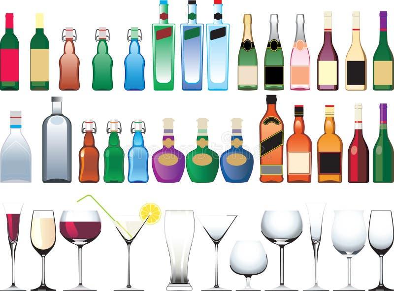 Différentes bouteilles, cuvettes et glaces illustration libre de droits