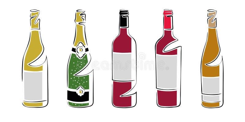 Différentes bouteilles de vin, ensemble - colorez le dessin de vecteur images stock