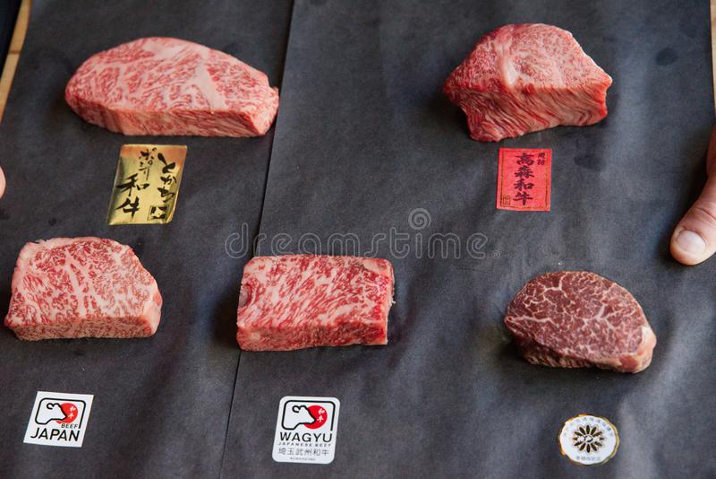 Différentes coupes de boeuf de Wagyu du Japon image libre de droits