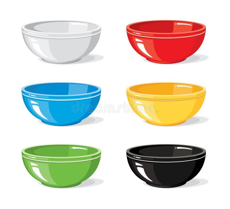 Différentes cuvettes vides colorées pour le petit déjeuner ou le dîner d'isolement sur le fond blanc Cuisson de la collection illustration libre de droits
