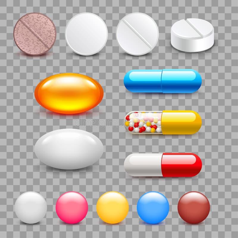 Différentes ensemble de vecteur d'isolement de pilules de médecine par icônes illustration libre de droits