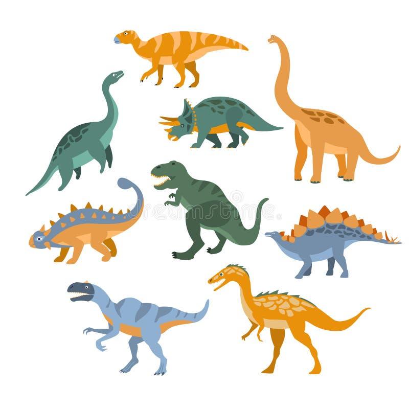 Différentes espèces d'ensemble de dinosaures illustration de vecteur