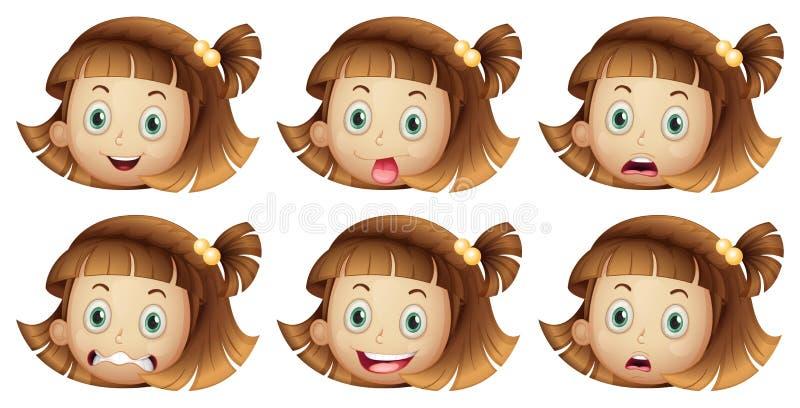 Différentes expressions du visage d'une fille illustration libre de droits