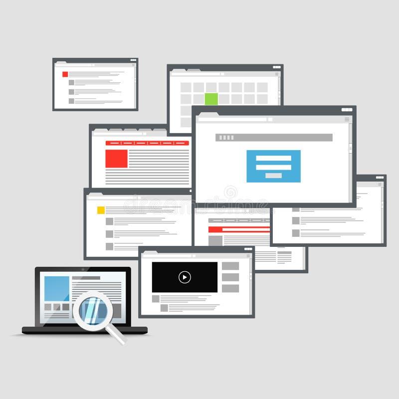 Différentes fenêtres du navigateur et ordinateur portable moderne illustration libre de droits