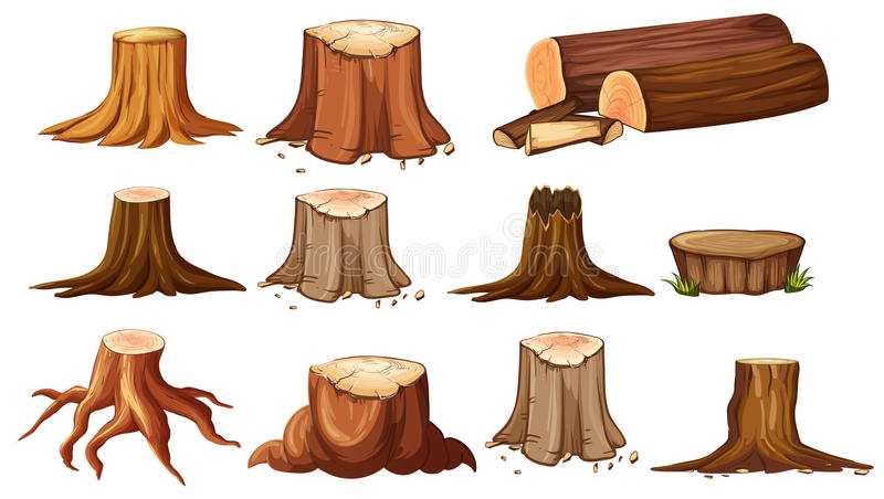 Différentes formes des arbres de tronçon illustration de vecteur