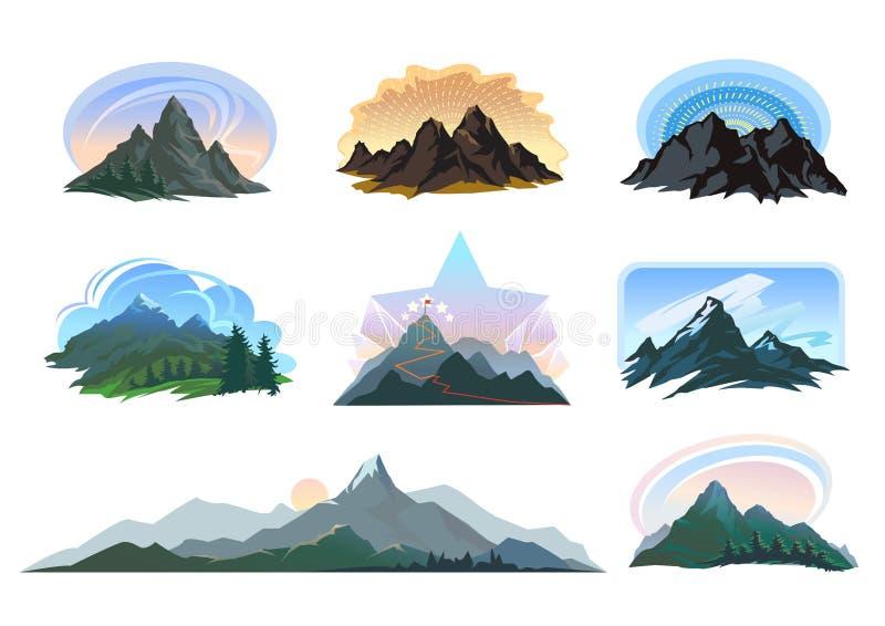 Différentes formes des montagnes avec des paysages des modèles de couleurs vibrants illustration libre de droits