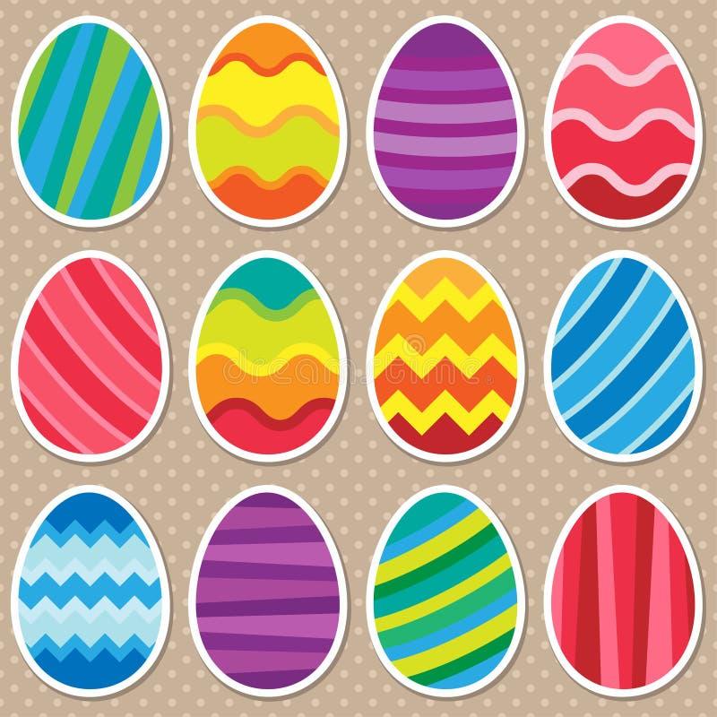 Différentes icônes colorées d'oeufs de pâques illustration libre de droits