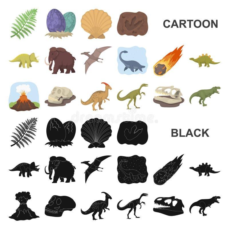 Différentes icônes de bande dessinée de dinosaures dans la collection d'ensemble pour la conception Illustration animale préhisto illustration stock