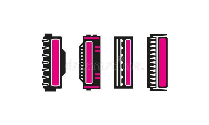 Différentes icônes de cartouche de laser réglées avec le toner magenta illustration stock