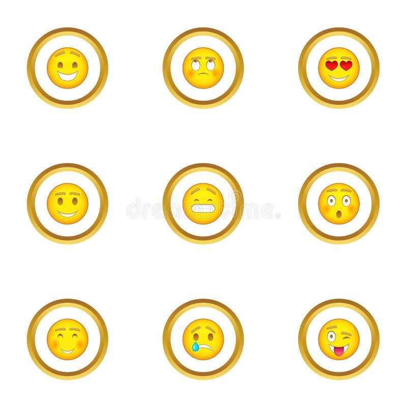 Différentes icônes de smiley réglées, style de bande dessinée illustration de vecteur