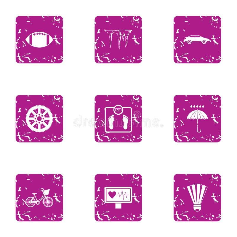 Différentes icônes saines réglées, style grunge illustration libre de droits