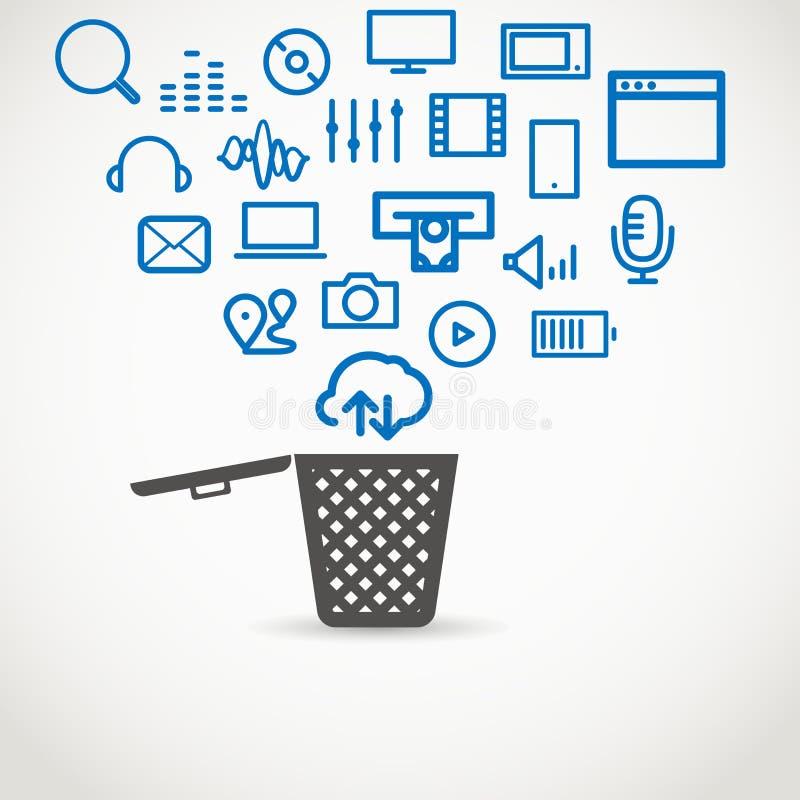 Différentes icônes coulant dans un panier de déchets illustration stock