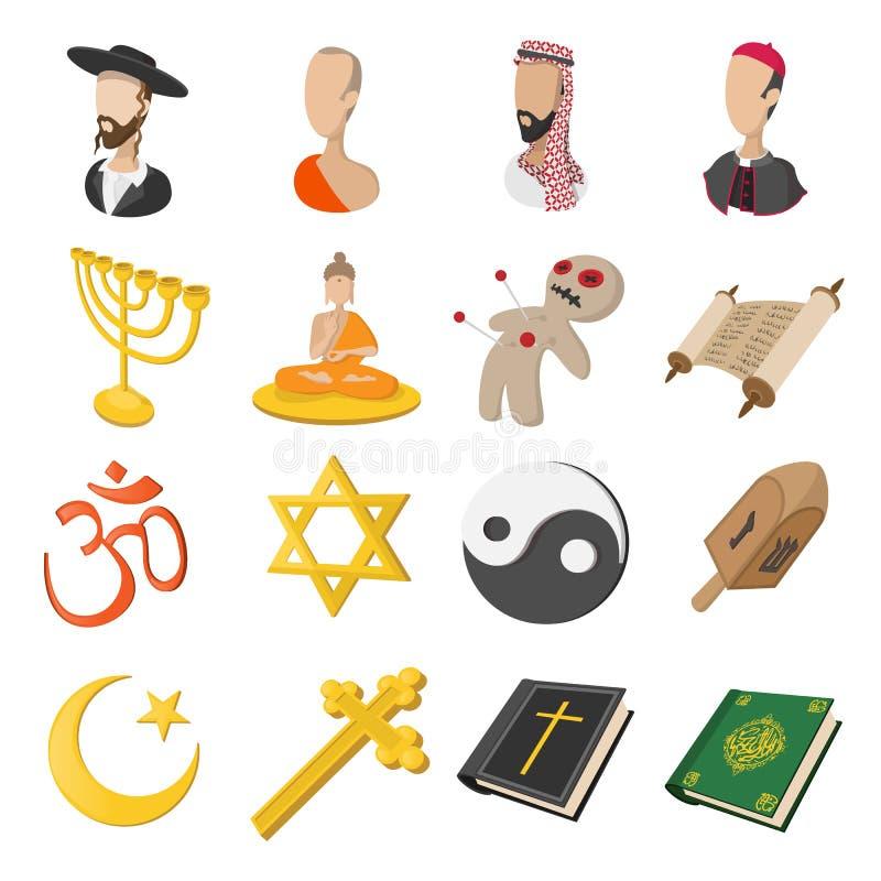 Différentes icônes de bande dessinée de religions réglées illustration de vecteur