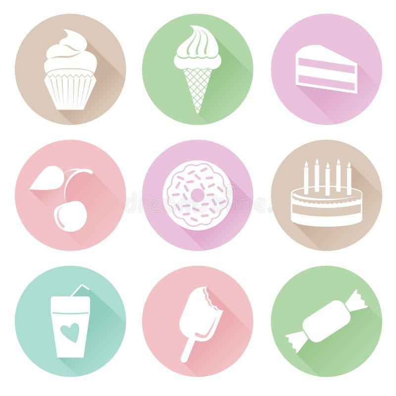 Différentes icônes de bonbons réglées dans le style plat illustration stock