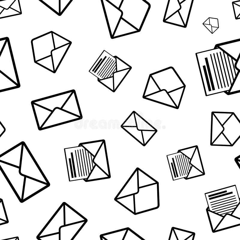Différentes icônes de noir d'enveloppe sur le fond blanc illustration de vecteur