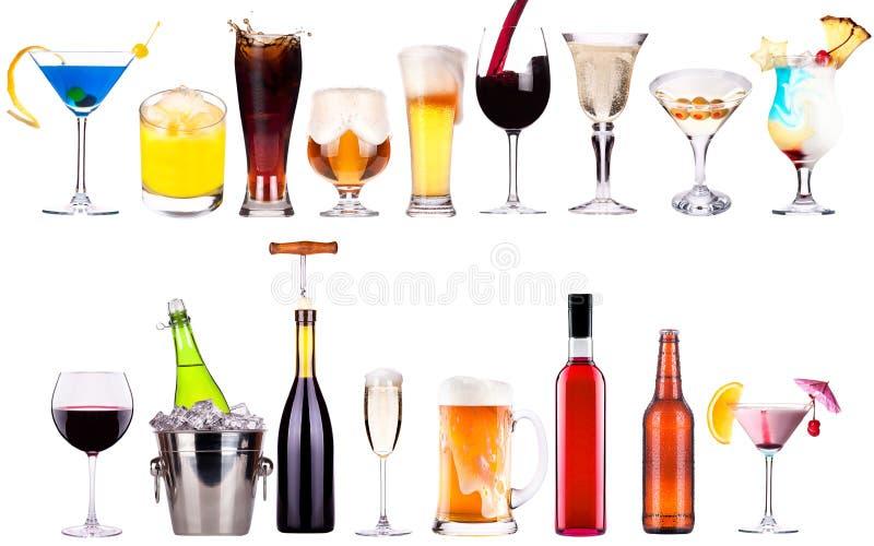 Différentes images d'alcool d'isolement photos stock