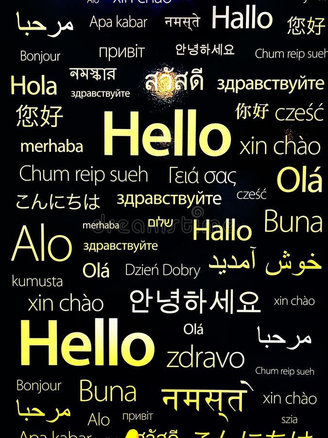 Différentes langues de pays pour bonjour photos stock