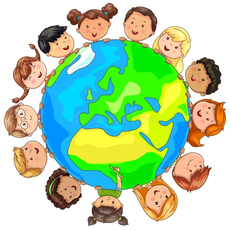 Différentes nationalités d'enfants mignons autour de la terre de planète illustration de vecteur