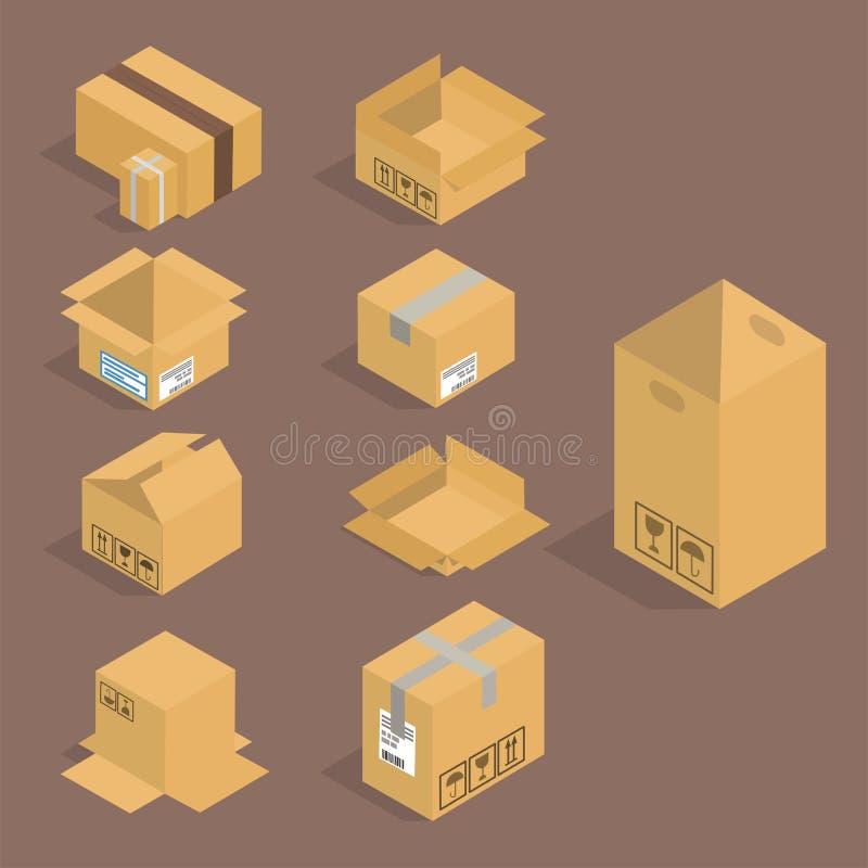 Différentes paquet d'isolement de vecteur de boîte par icônes isométriques illustration de vecteur