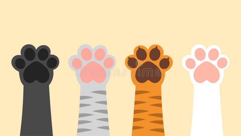 Diff?rentes pattes de chats  illustration stock