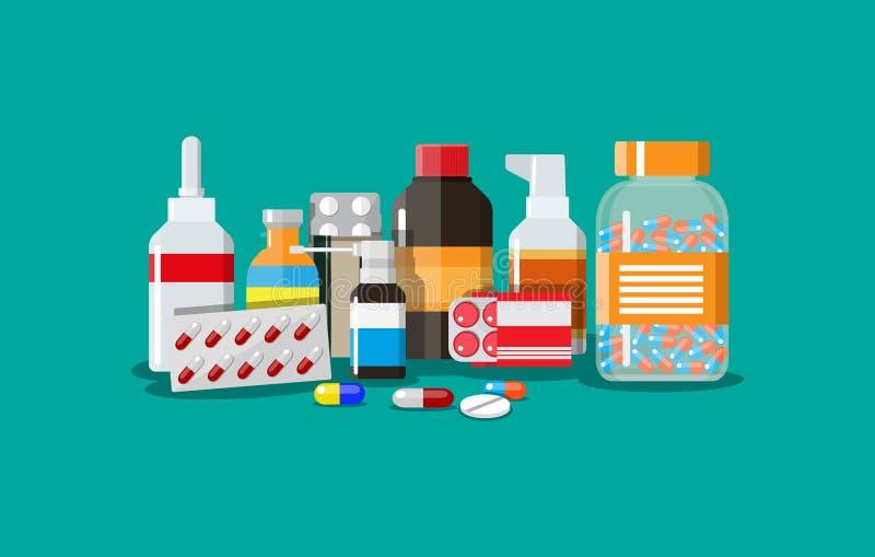 Différentes pilules et bouteilles médicales illustration de vecteur