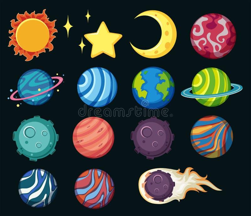 Différentes planètes dans le système solaire illustration stock