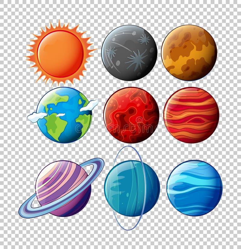 Différentes planètes dans le système solaire sur le fond transparent illustration libre de droits